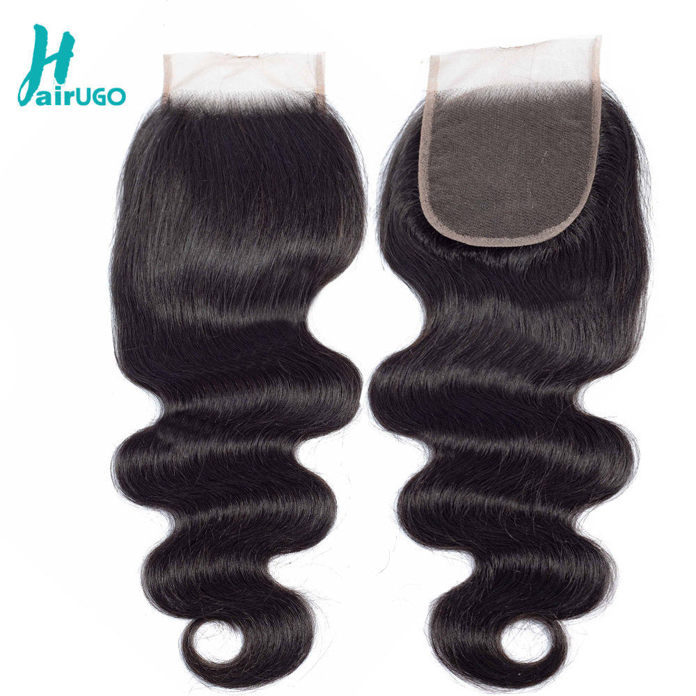 HairUGo Peruvian Human Hair Weave Lace Closure Body Wave 5x5 6x6 Lace Closure With Baby Hair Hand Tied Non Remy Hair Closures
