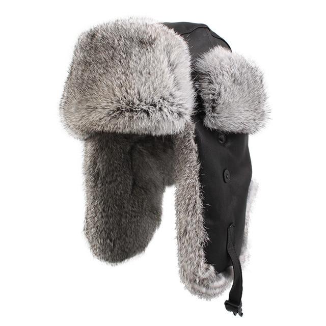72bfa773040 Kenmont Winter Men Genuine Leather Natural Rabbit Fur Aviator Trapper  Bomber Cap Hat Size M L XL 2160