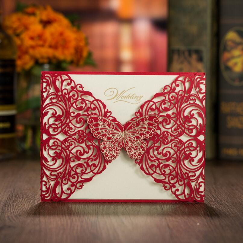 50pcs/pack Laser Cut Red Butterfly Wedding Invitations Card Elegant Paper Favor Wedding Event & Party Supplies 50pcs pack laser cut wedding invitations cards elegant flowers free printing birthday party invitation card casamento