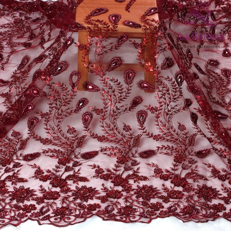 La Belleza 1 yard wine evening wedding dress handmade beaded lace fabirc 51 width