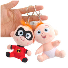 The Incredibles 2 Family Figures Plush Keychain Toys Superman Baby Jack Dolls Movie Cartoon Small Key Bag Pendants 6pcs 10cm(China)