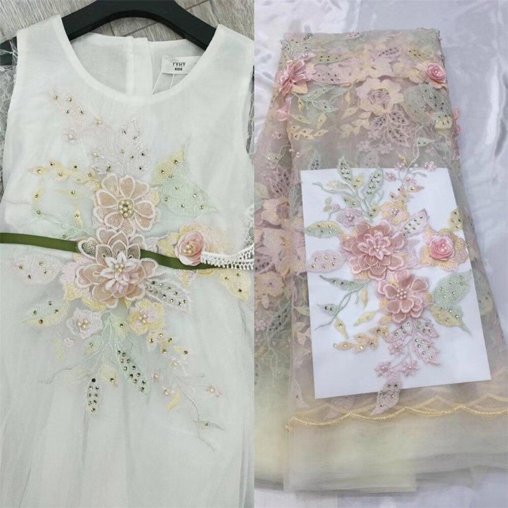 Amour merci dentelle à la main africaine française dentelle 3D fleur broderie nigéria robe de mariée dentelle X55-1