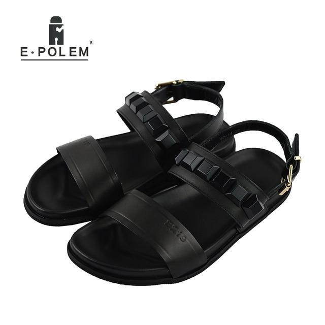 e35fdb2fe 2018 Summer Flat Shoes Men Rome Genuine Leather Sandals Fashion Retro Male  Sandals Black Rivet Breathable Beach Sandals