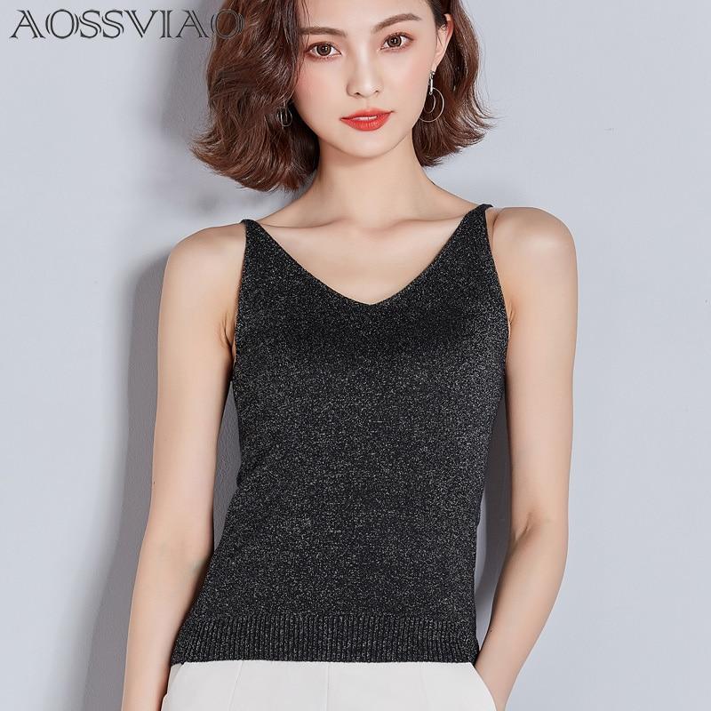 Vest Sexy Tank-Top Crop-Tops Silk Gold Femme Shirt Black Summer Sleeveless V-Neck Haut