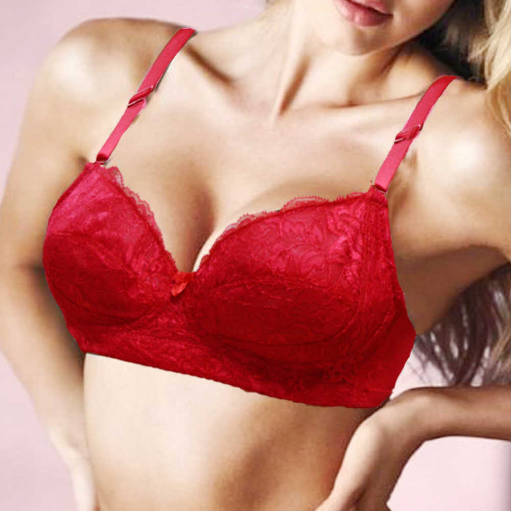 35a740599ceb2 YANDW Padded Bra Red Women Ultra Sexy Bralette Push Up Bras Plus Size B C D  E F Cup 70