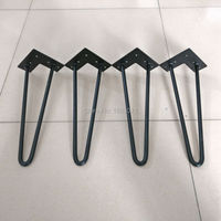 New Design Matte Black 1 2 Cold Steel Coffee Table Feet With 3 Pins Hairpin Legs