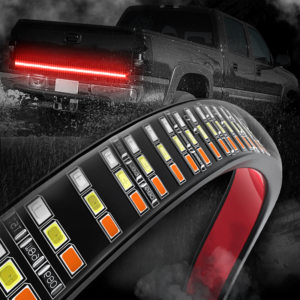 MICTUNING Upgraded 60 Triple Row Car LED Tailgate Strip w Amber Strobe Turn Signals Red Brake