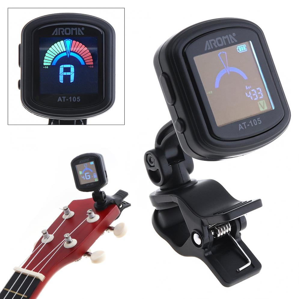 Rechargeable Clip-on Guitar Tuner High Brightness Color Screen for Chromatic / Guitar/Bass / Ukulele / Violin Musical Instrument
