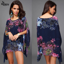 2017 Boho Top Batwing Sleeve Plus Size Chiffon Blouses Women Floral Printed Loose Summer Shirts Beach Tunic Tops Blusas Robe