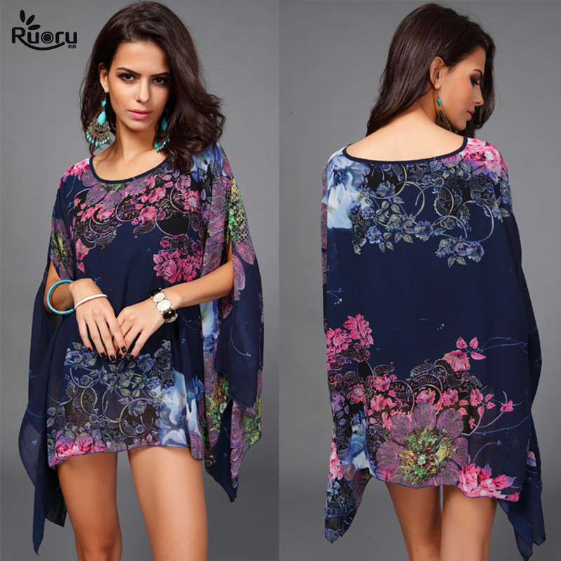 Boho Top Batwing Sleeve Plus Size Chiffon Blouses Women Floral Printed Loose Summer Shirts Beach Tunic