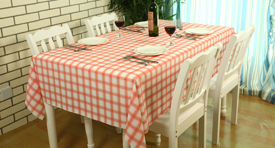 Plaid Pvc Plastic Tablecloth Waterproof Oil Disposable Dining Table Cloth Midsweet 137cm