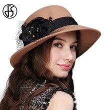 FS invierno 100% lana Fieltro Fedora sombrero para las mujeres elegantes  ala ancha formal Sombreros de fieltro hecho a mano Flor. 8b4b05c3f664