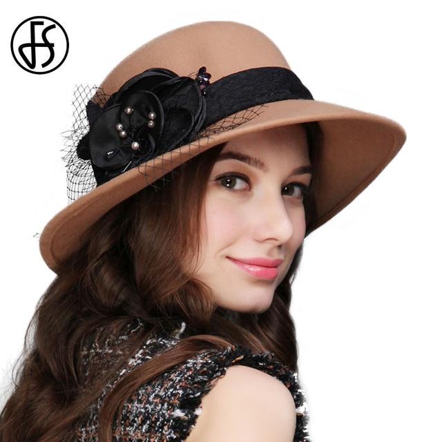 721e45e0059 FS Winter 100% Wool Felt Fedora Hat For Elegant Women Wide Brim Formal  Fedoras Handmade