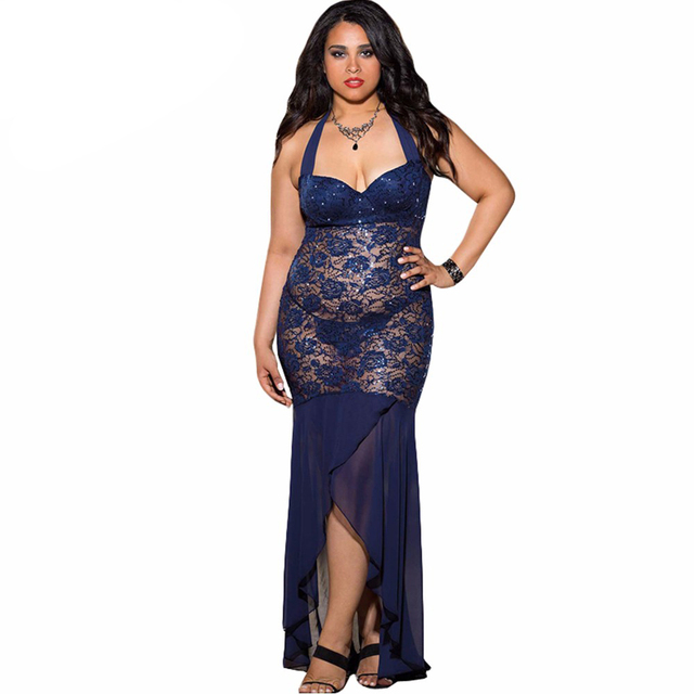 Halter sexy lingerie gowns ladies sleepwear nightwear wedding pajamas Long Floral Lace Sequin Chiffon Gown Plus Size