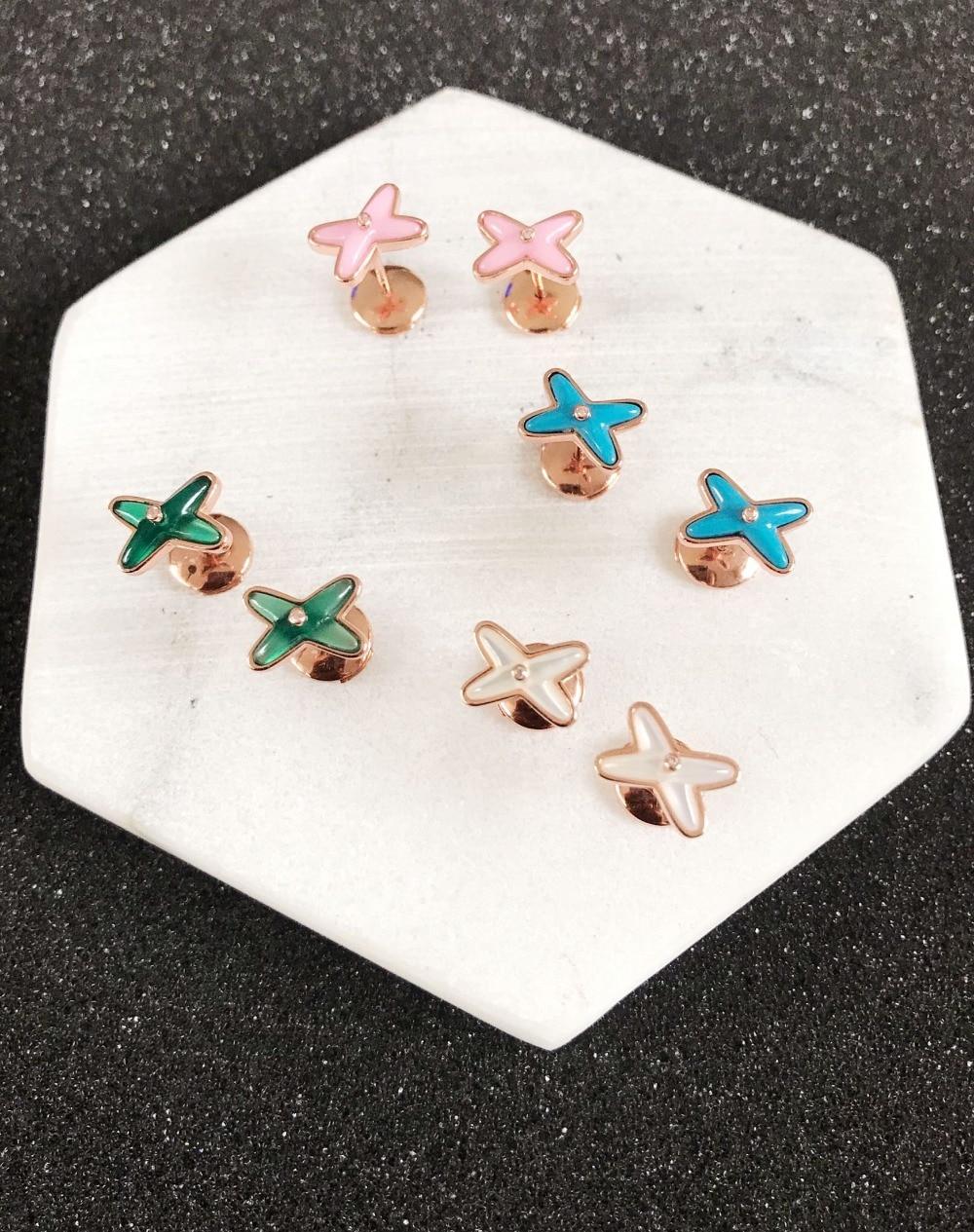 Hot brand designer 925 sterling silver X stud earrings for women party jewelry cross earrings blue green white blue stone earing