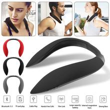 Hanging Neck Style Bluetooth Speaker Multi-function Radio Sports Audio Device Support Micro SD TF Card Wireless Earphones