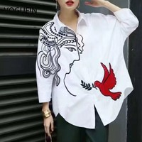 VOGUE! N Yeni Bayan Bayanlar Beyaz/Çizgili Çiçek Işlemeli 3/4 Kollu Bluz Gömlek Tops Boyut SML Toptan