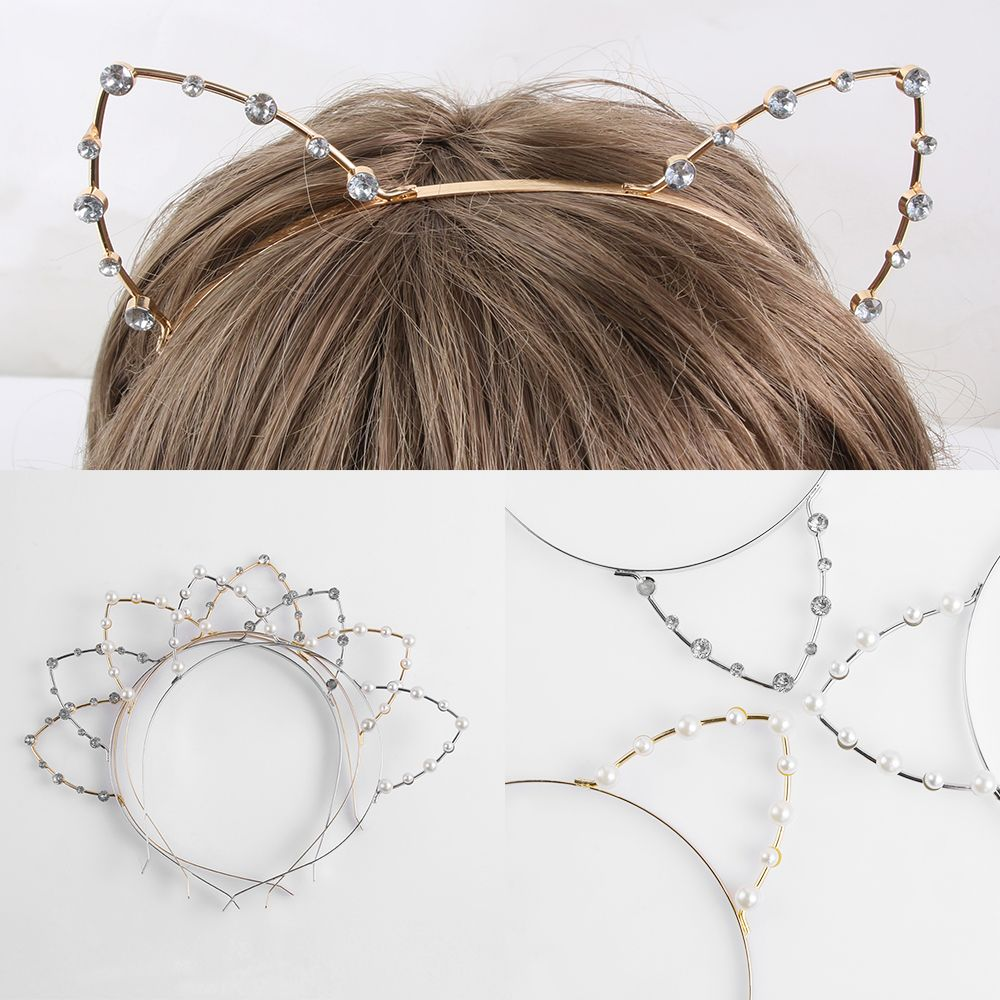 Alloy Rhinestones Cute Cat Ear Headband Fashion Women Girls Hair Band Accessoriess Silver/Golden