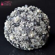 Silver Diamond Bridal Bouquet Handmade Crystal Wedding Jewelry mariage wedding bouquets DQG545