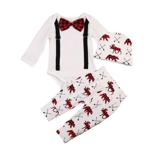 Pudcoco Bebê Recém-nascido Outono Meninos Romper Cavalheiro Bodysuit Macacão + Calças Outfits Xmas Cervos Do Natal Conjunto Formal Roupas 0-24 M