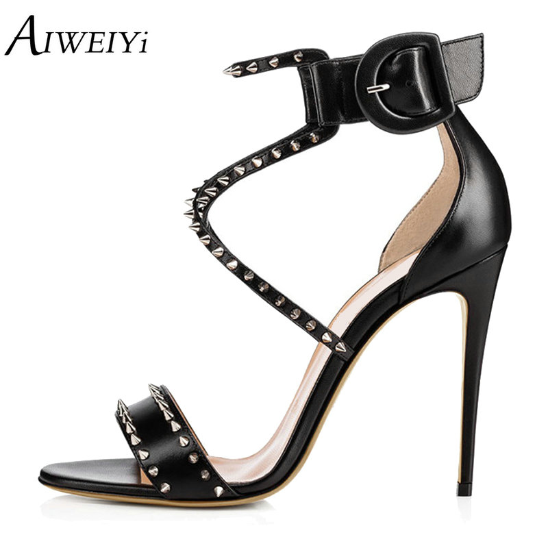 AIWEIYi Summer Women High Heels Sandals Shoes Woman Ladies Party Wedding Pumps Ankle Strap Buckle Stilettos Sexy Shoes new arrival black brown leather summer ankle strappy women sandals t strap high thin heels sexy party platfrom shoes woman