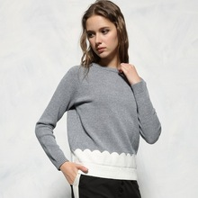 high quality New Fashion 2016 Designer Runway sweater women's wool knitted patchwork grey color warm sweater jumper pullover