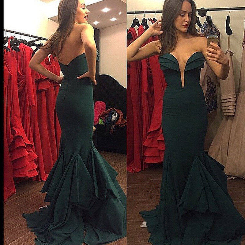 Open Sweetheart Deep Green Prom Dresses 2