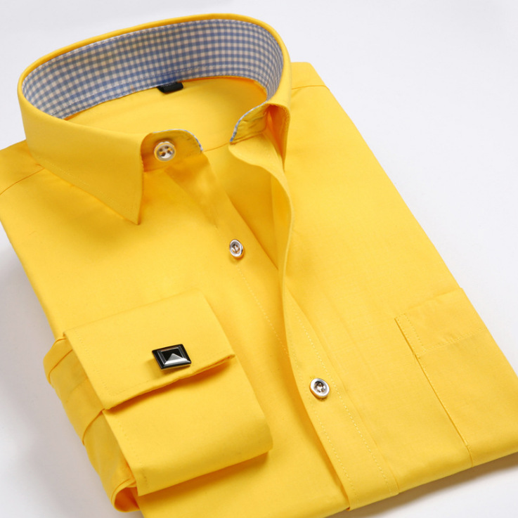 Fall 2020 Pure Color Fashion Long-sleeved French Cufflinks Shirts Men's Shirt