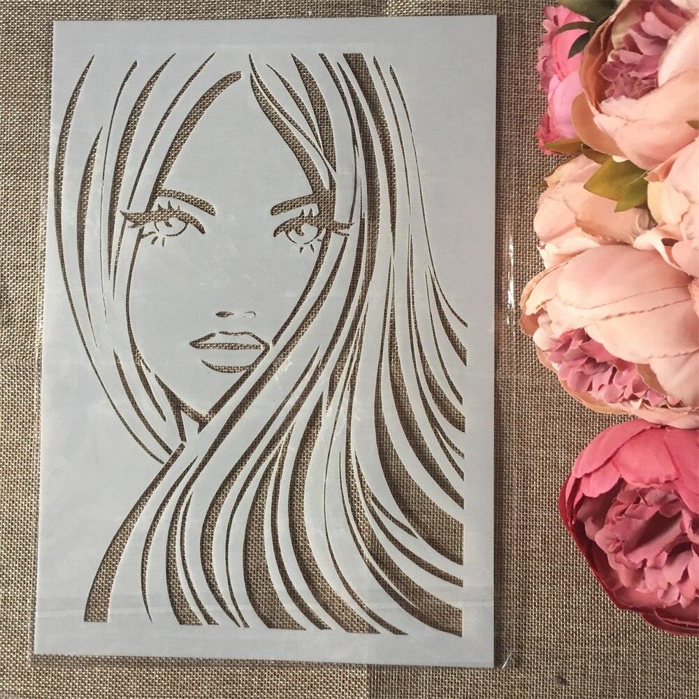 1Pcs A4 Long Hair Girl DIY Layering Stencils Wall Painting Scrapbook Coloring Embossing Album Decorative Paper Card Template