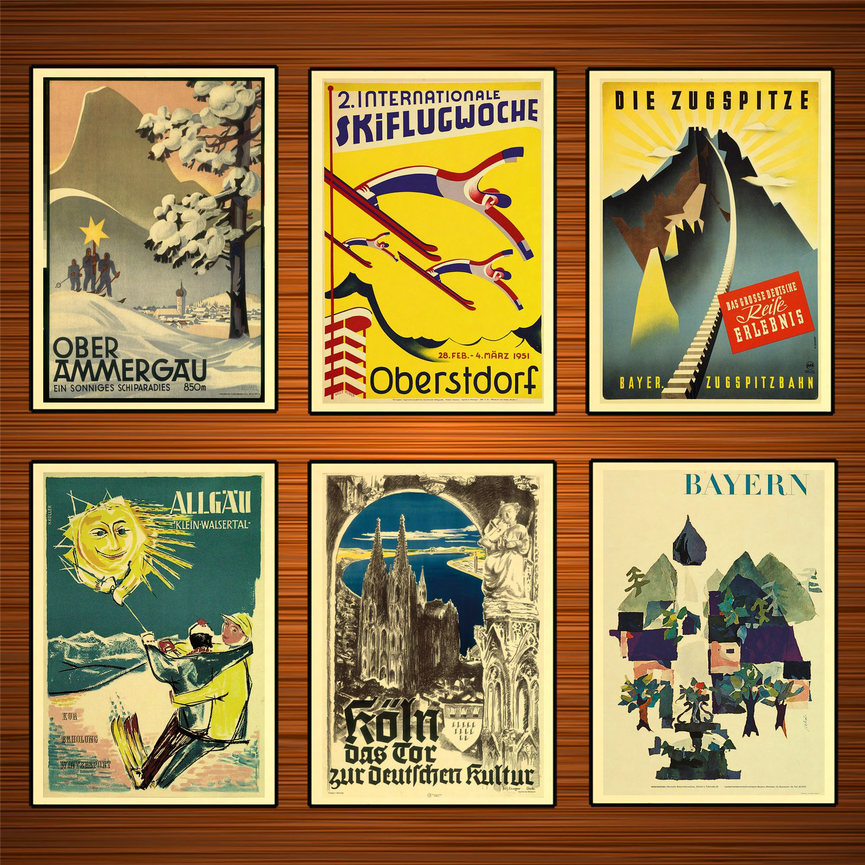 Deutschland Reise Poster Oberammergau Ein sonniges Skiparadies Klassische Wand Aufkleber Leinwand Vintage Poster Home Bar Decor Geschenk