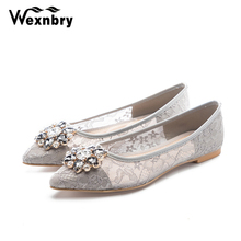 2018 fashion lace pearls bridal shoes women flat sweet flower girl wedding  party bridesmaid shoes( 03838fa90d3a