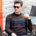 2016 Autumn Winter sweater men's 100% pure wool sweater printing pullover thicken warm men's sweater fashion business tops