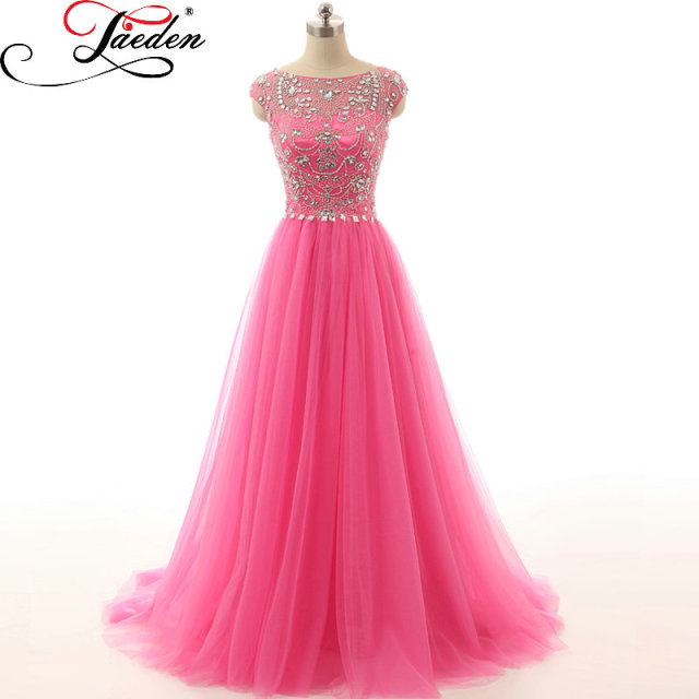 2088a8056f9 JAEDEN Gorgeous Beading Long Evening Dresses Hot Pink Tulle Crystals Cap  Sleeves A Line 2017 E070