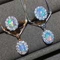 5x7mm Opal Pendant Jewelry 925 Sterling Silver Fire Opal Necklaces/Rings For Women Natural Opal Necklace Jewelry sets
