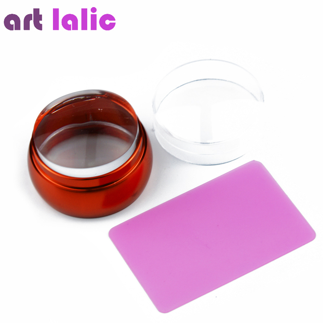 New 3.5cm Lovely Jelly Nail Stamp Stamping Kit Silicone Red Metal Handle Nail Stamper Scraper with cap DIY Nail Printing Tools