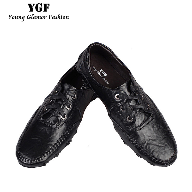 YGF New Spring Men Casual Loafers Shoes Moccasins Genuine Leather Flat Shoes Slip On Men Loafers Breathable Driving Shoe camel men s 2015 spring new leather men s shoes simple daily casual men loafers