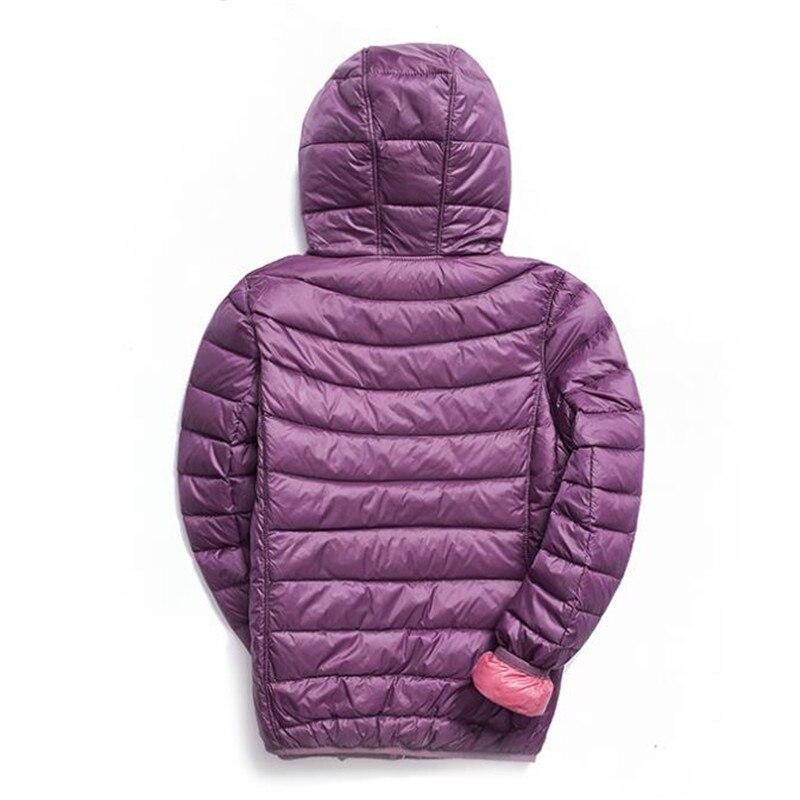 Winter Women Down Jacket Hooded Two Side Ultra Light Duck Down Jackets Parkas Coat Autumn Female Warm Slim Short Outwear SF1419