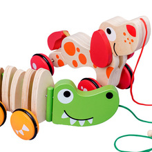 New Wooden Animal Puppy Trailer Toy Children Car Cartoon Tractor Funny Toys