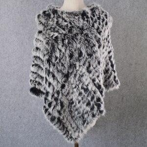 Image 3 - Лидер продаж, Женский вязаный шарф пончо ручной работы из натурального кроличьего меха, шарф из 100% натурального кроличьего меха, шаль из пашмины