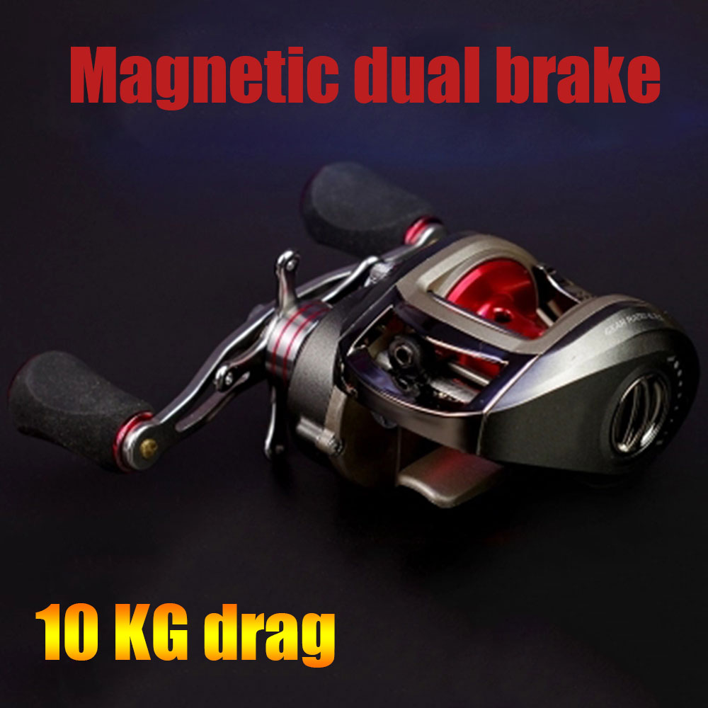 10 KG Load <font><b>Fishing</b></font> Reel carretes de pescar 13+1 Bearings dual brake Systems Right/Left Bait Casting Reel Centrifugal & Magnetic