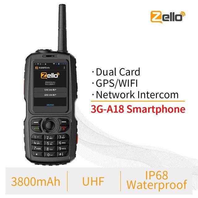 A18 IP68 עמיד למים GPS WCDMA GSM Smartphone כרטיס Zello נייד UHF 400 470 PTT ווקי טוקי טלפון 3800mAh מגע מסך