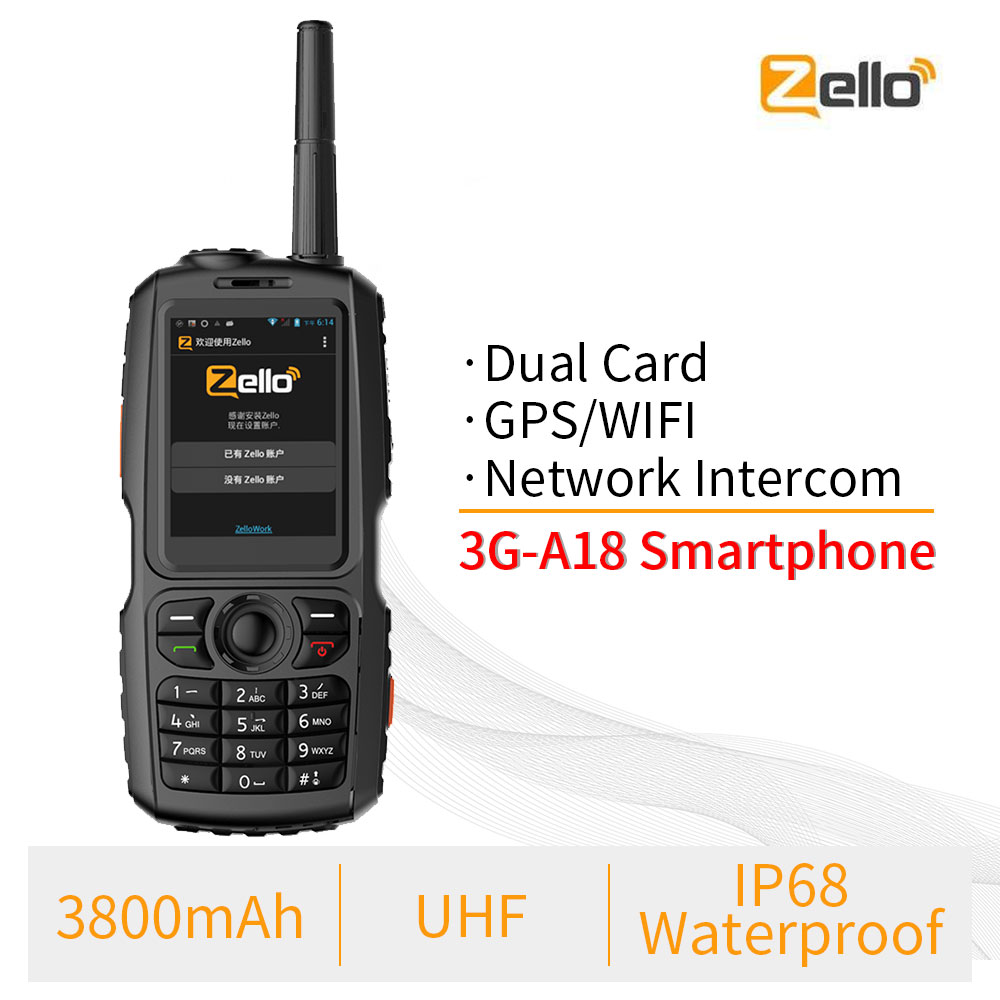 A18 IP68 Waterproof GPS WCDMA GSM Smartphone Dual Card Zello Cellphone UHF 400-470 PTT Walkie Talkie Phone 3800mAh Touch Screen