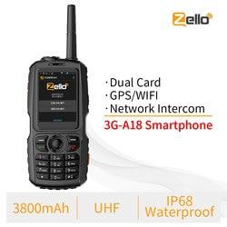 A18 IP68 Waterproof GPS WCDMA GSM Smartphone Dual Card Zello Cellphone UHF 400-470 PTT Walkie Talkie Phone 3800mAh Touch Screen