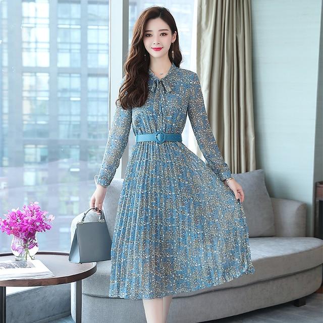 2019 Autumn Winter Vintage Chiffon Floral Midi Dress Plus Size Maxi Boho Dresses Elegant Women Party Long Sleeve Dress Vestidos 3