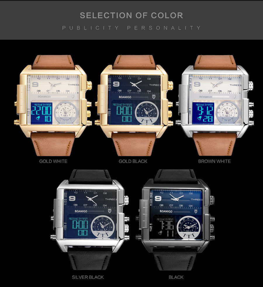 HTB16k8OHf5TBuNjSspmq6yDRVXae BOAMIGO brand men sports watches 3 time zone big man fashion military LED watch leather quartz wristwatches relogio masculino