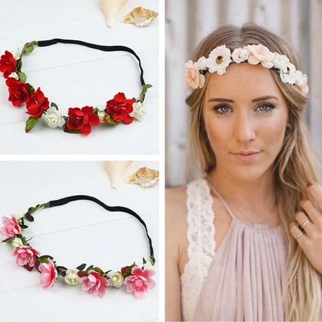 Vogue Girls Bride Flowers Headwear Bohemian Style Peony Flower Crown Women  Elastic Headband Plastic Garland Hair Accessories 9d59b1635f4f