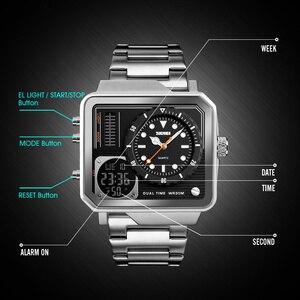 Image 5 - SKMEI relojes deportivos de cuarzo Digital para hombre, correa de acero inoxidable, resistente al agua, informal