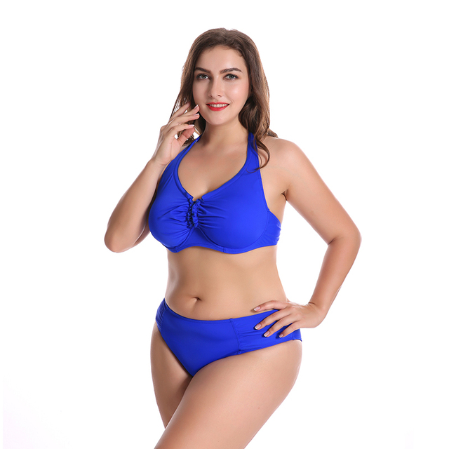 70e6dbdffea 2018 Beach Swim Wear Plus Size Swimwear Solid Color Swimsuit Fat Big Cup Swimming  Suit for Women Halter Top Bikini Beachwear