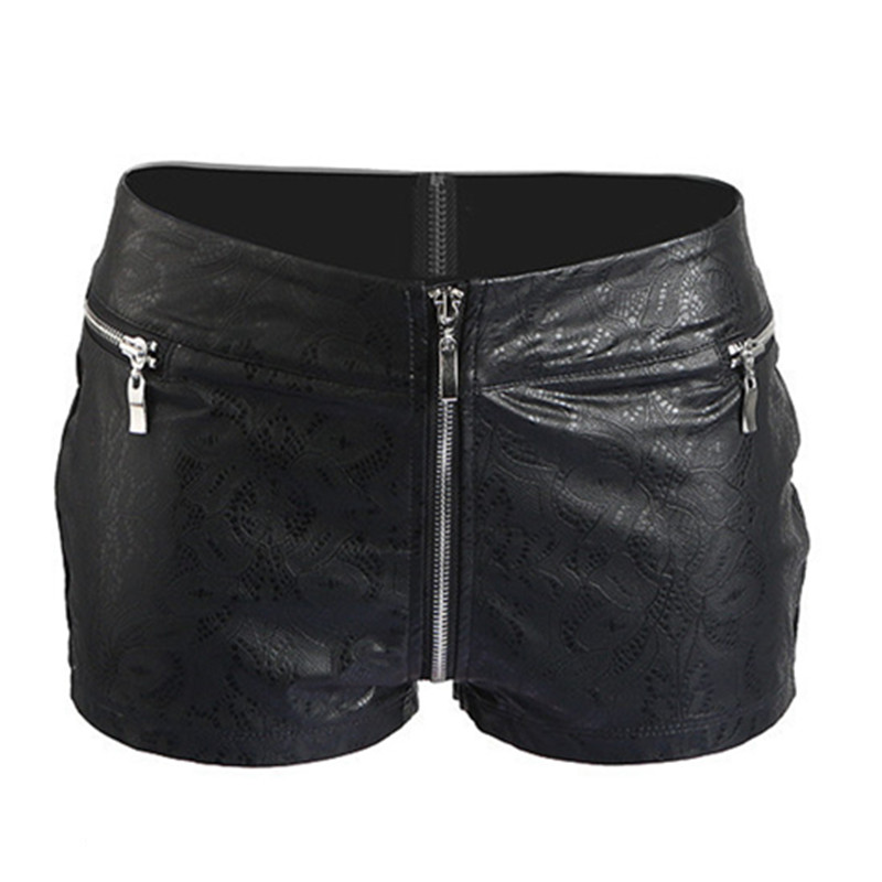 Sexy Faux Leather Hot Shorts Boxer Low Rise Waist Micro MINI Shorts With  Zippered Open Crotch Shorts Dancing Night Culb Wear