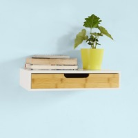 SoBuy Wall Floating Shelf with Drawer Storage Display Shelving Home Decoration FRG92 WN
